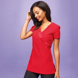 Rose wrap satin trim cleaners tunic