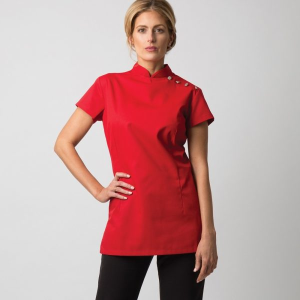 Women's shoulder button cleaning tunic
